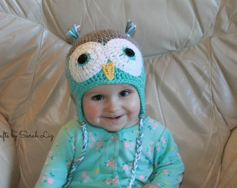 Crocheted Baby Owl Hat, Photo Prop, Baby Owl Beanie, Infant Owl Hat, Crochet Baby Hat, Baby Shower Gift, Teal Grey Baby Hat, Grey Owl Hat