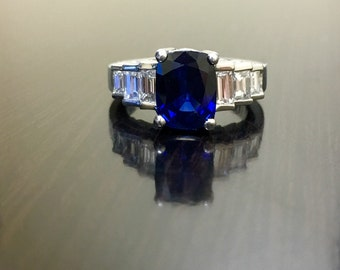 Platinum Diamond Blue Sapphire Engagement Ring - Art Deco Platinum Sapphire Diamond Wedding Ring - Ceylon Blue Sapphire Ring - Platinum Ring
