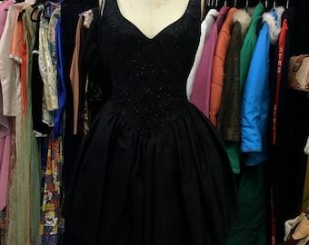 VINTAGE 1980s Gunne Sax Black Lace Party Dress SM