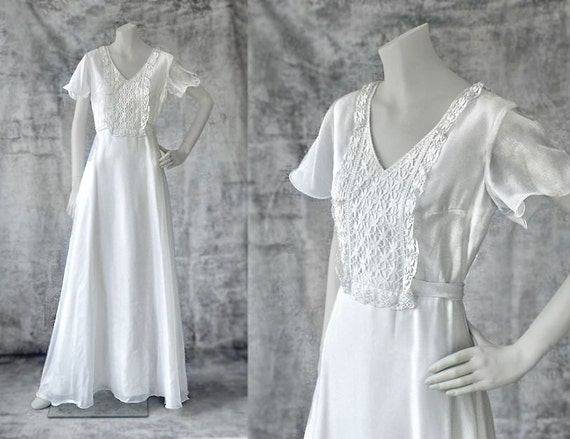 Vintage Wedding Dress 1970s White Dress Made In Italy Mint