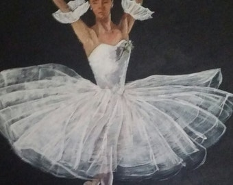 Original Acrylic Painting 16x20 of a Ballerina in all her Splendor