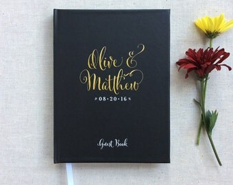 Wedding Guest Book #7 - Custom Hardcover Guest Book - Wedding Guestbook, Personalized Guest Book - Black - Gold Calligraphy