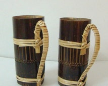 SALE 20% OFF Bamboo Mugs Small Brown Tribal Set of 2 Handmade Collectible Home Decor Indian Handicraft from Tripura in Northeast India