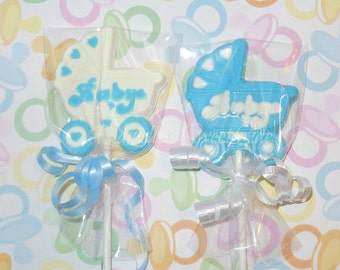 12 Baby Carriage Stroller Chocolate Lollipop Party Favor Baby Shower Gender Reveal