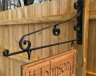 """Large 28"""" Wide Wrought Iron Sign Hanger Outdoor Wooden Carved Sign Display Metal Sign Wall Bracket Handmade in the USA Scroll Sign Bracket"""