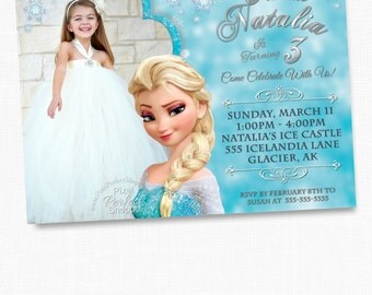 FROZEN PRINTABLE INVITATION, Custom Frozen Invitation For Girls Birthday Party, Frozen Party Decor, Photo Invitation, Disney Frozen, Frozen