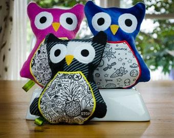 Coloring Owl, Boy, Girl, Craft, Stuffie, Birthday Gift