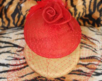 Red Veiled Sinamay Fascinator Hat with Rose and Feather Detail Pinup Burlesque