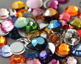 24 SWAROVSKI Rhinestones Crystal FlatBack MIX 30ss, 34ss