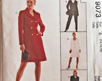Double Breasted Jacket or Dress, Pants & Skirt SEWING PATTERN / McCalls 9073 / Vintage 1997 / Petite-able / Uncut OOP /   Size 14 16 18