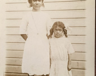 Vera and Lucille Identified Sisters-Antique Photograph, RPPC African American