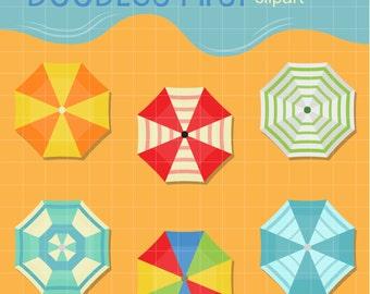 Beach Umbrellas Digital Clip Art for Scrapbooking Card Making Cupcake Toppers Paper Crafts