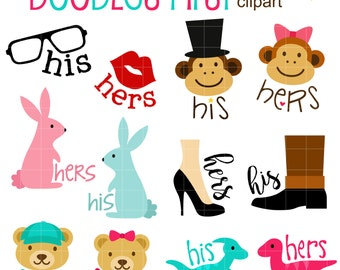 His & Hers Labels Clip Art for Scrapbooking Card Making Cupcake Toppers Paper Crafts