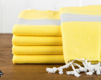 S A L E, Bold Turkish Towel, Yellow and Gray, Peshtemal, Beach Towel, Hammam Towel