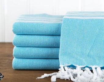 Classic Towel, Turquoise, Turkish Bath Towel, Turkish Cotton Towel, Peshtemal, Hammam Towel