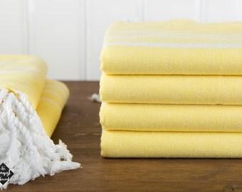 Classic Towel, Yellow, Turkish Bath Towel, Turkish Cotton Towel, Peshtemal, Hammam Towel