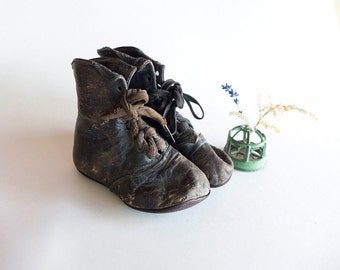 Antique Baby Shoes, Lace up Black Leather Baby Shoes, Weird Antique Victorian Baby Shoes, Distressed 1800s Antique Shoes