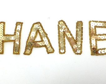 "Chanel Applique, Sequin Beaded Unattached Gold Letters  2"" -B080"