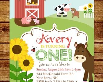 Farm First Birthday Party Invitation, Farm Birthday Invitation, Farm Animals, Barn, Any age, Printable