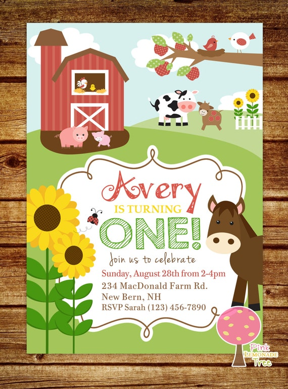 farm first birthday party invitation farm birthday, Party invitations