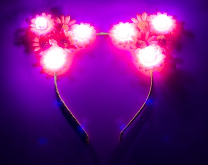 Customizable Pink LED Cat Ear Headband