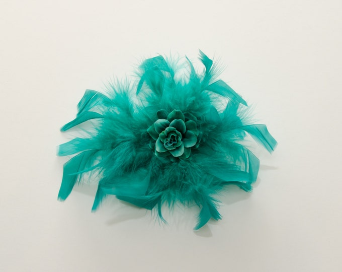 Aqua Feather Flower Clip