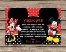 Minnie and Mickey Made to Match Thank You Card, Digital File, You Print