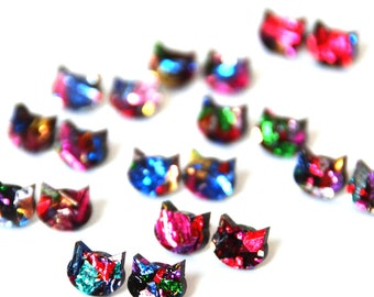 Mini Galaxy Cat Earrings · Space Cat · Multicoloured Cat Earring · Kaleidoscope Glitter Cat · Mini 10mm