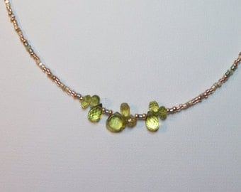 Small Peridot Cluster with seed beads and extender