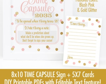 Time Capsule Sign & Cards - Blush Pink Gold Glitter First Birthday Time Capsule, Printable Baby Shower Dear Baby Cards - EDITABLE Text PDFs