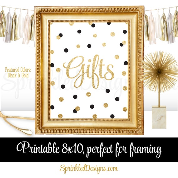 Gift Table Party Sign   Black White Gold Wedding Birthday Baby Shower Gifts    Printable Poster Party Decorations   Gold Glitter Party Decor