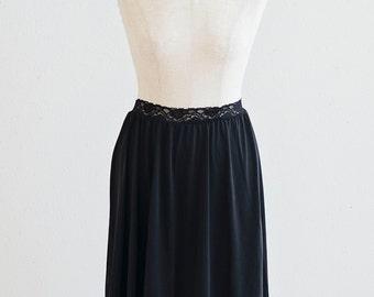 Black Slip skirt, lace sheer slip under skirt slip with vintage lace