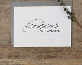 Wedding Card To My Grandparents Wedding Day - To My Grandparents Wedding Card, Wedding Stationery, Thank You Wedding Card, Wedding Note, K4