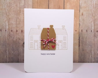 New Home Greeting Card, Housewarming Card, New Home Card, Happy New Home Card, Hand Stamped New Home Card