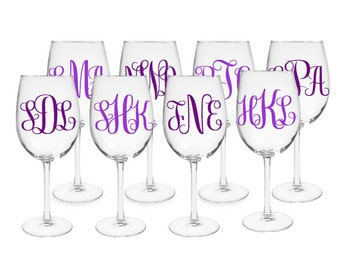 Set of 8 Decorative Wine Glasses