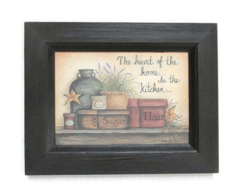 Kitchen Decor, The Heart of the Home is the Kitchen, Art Print, Primitive Decor, Wall Hanging, Handmade, 9X7, Custom Wood Frame, Made in USA