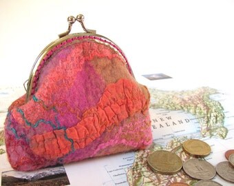 Bohemian Pink Wet Felted coin pouch with silk fibers, silk threads. Pink peach pouch, lined with Kaffe Fassett fabric. Special gift!