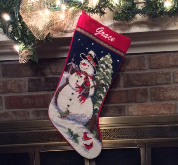Snowman Needlepoint Christmas Stockings Personalized