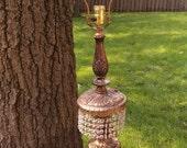 SALE Hollywood Regency Art Deco L & L WMC Brass Crystal Ornate Lamp Loevsky and Loevsky