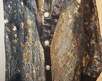 FREE  SHIPPING   Vintage 1980 Gold Black Lace Blouse