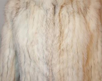 FREE  SHIPPING  Vintage White Fox Fur Jacket