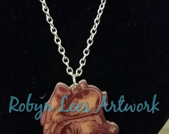 SALE Anatomical Medical Printed Acrylic Human Heart on Various Lengths of Silver Chain