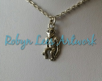 Small Silver Cute Monkey Charm Necklace on Silver Crossed Chain or Black Faux Suede Cord