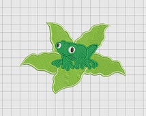 Frog on Lilypad Embroidery Design in 3x3 4x4 5x5 and 6x6 Sizes