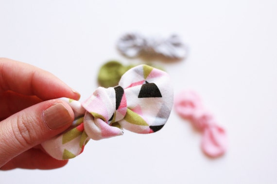 Fabric Knot Bow: MODERN triangle Little Girl Hair Clips