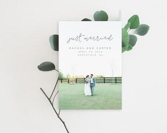 Printable Wedding Announcement Card - Elopement Announcement Card - Marriage Announcement Card - Wedding Photo Template | WA-003