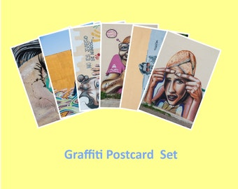 Graffiti Art, Set of 6 Postcards, Fine Art Photography, Affordable Art, Graffiti Wall Art, 4x6, Blue Orange, Green, Pink Brown