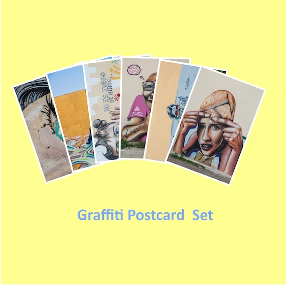 Graffiti Art, Set of 6 Postcards, Fine Art Photography, Affordable Art, Graffiti Wall Art, 4x6, Blue Orange, Green, Pink Brown