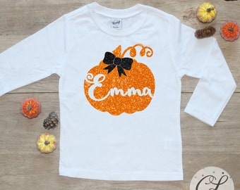 Personalized Pumpkin Bodysuit or Shirt / First Halloween Baby's 1st Thanksgiving Pretty Little Personalized Tee Name Toddler Outfit  123