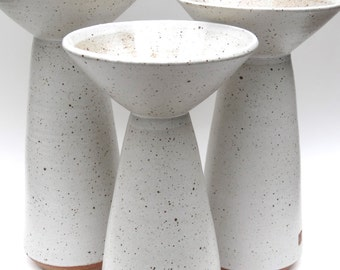 White ceramic vases with a mid-century modern flare  MADE TO ORDER